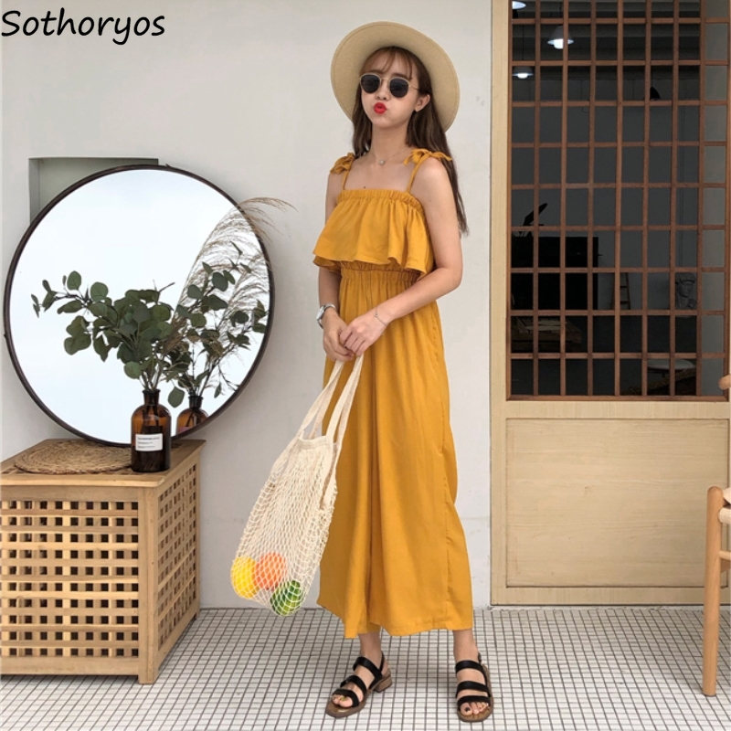 Jumpsuits Women Summer Korean Style Loose Casual Streetwear Ulzzang Kawaii Lovely Simple All-match Trendy Womens Trousers Chic