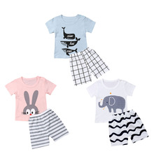 2PCS Newborn Kids Baby Boy Clothes Set Cotton Animals Short