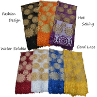 Nigeria Guipure Lace Fabrics Embroidery African Cord Lace Fabrics With Stones For Sewing Dress Water Soluble Lace Fabric 5 Yards