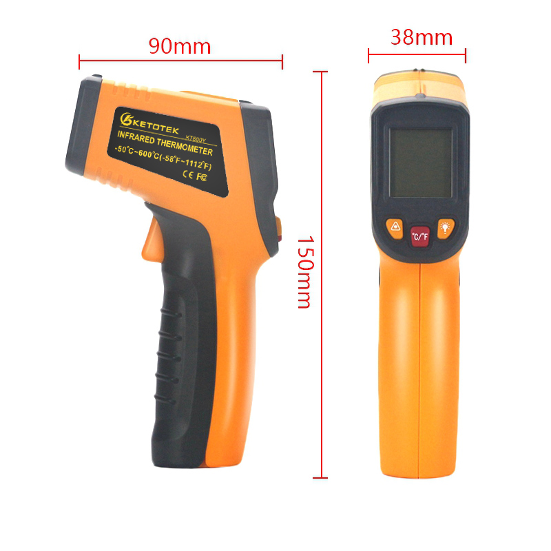 Image 3 - Handheld Non contact IR Infrared Thermometer Digital LCD Laser Pyrometer Surface Temperature Meter Imager C F Backlight  50~600C-in Temperature Instruments from Tools on