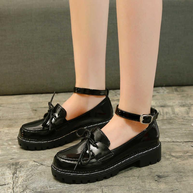 Katı Siyah Patent deri ayakkabı Kadın Yeni Oxfords Kadın Ayakkabı Kadın Yay Düğüm Daireler kayma Artı Boyutu Toka Kayış Bayanlar ayakkabı