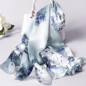 Image 2 - Foulard en soie femmes printemps châles et enveloppes Foulard Pashmina foulards imprimer 100% Foulard en soie pour dame