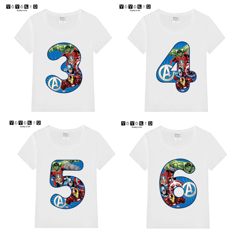 Summer 2019 Happy Birthday Avengers Number 1~9th Kids T-shirts Superhero Boy Tshirt Baby Girl Spiderman Kid Clothes