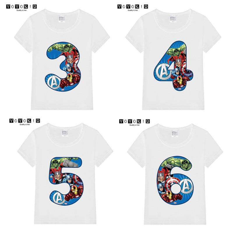 Summer 2019 Happy Birthday Avengers Number 1~9th Kids T-shirts Superhero Boy Tshirt Baby Girl Spiderman Kid Clothes