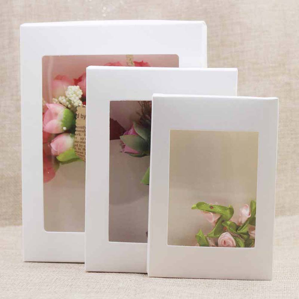 5pcs DIY Paper Boxes With Window White/Black/Kraft Paper Gift Box Cake Packaging For Wedding Home Party Muffin Packaging