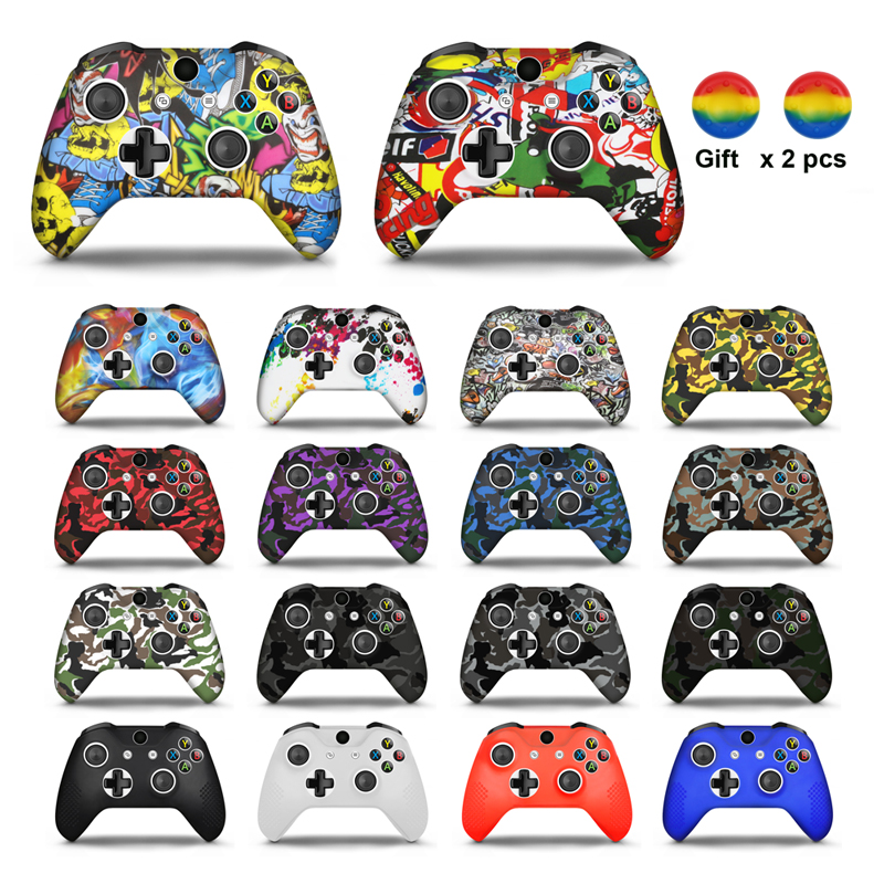 Soft Silicone Skin Case For Microsoft Xbox One Slim Gamepad Analog Sticks For Xbox One S Controller Protective Skin Case