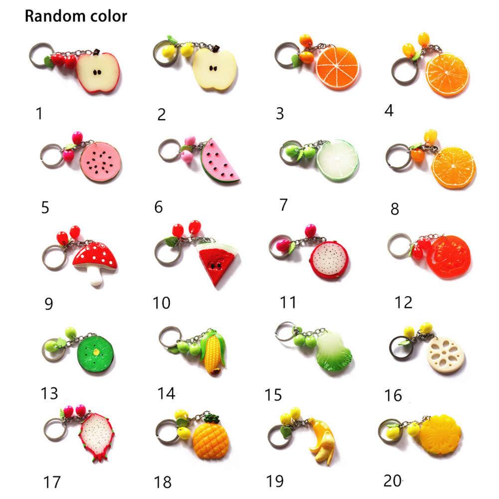 LLavero de frutas y verduras de diseño creativo de moda Popular lindo piña sandía dibujos animados naranja bolsa colgante coreano llaveros