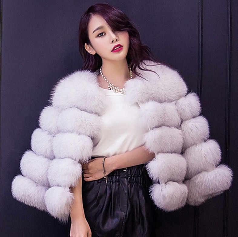 Furry 2019 Autumn Winter coat Furry casacos femininos Faux fur vest outerwear womens FAUX fur coat Fake Fur Jacket Overcoat