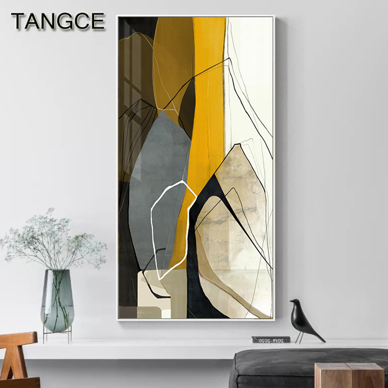 Nordic Yellow Posters And Prints Abstract High Quality Canvas Painting Big Wall Art Pictures For Living Room Fahsion Home Decor
