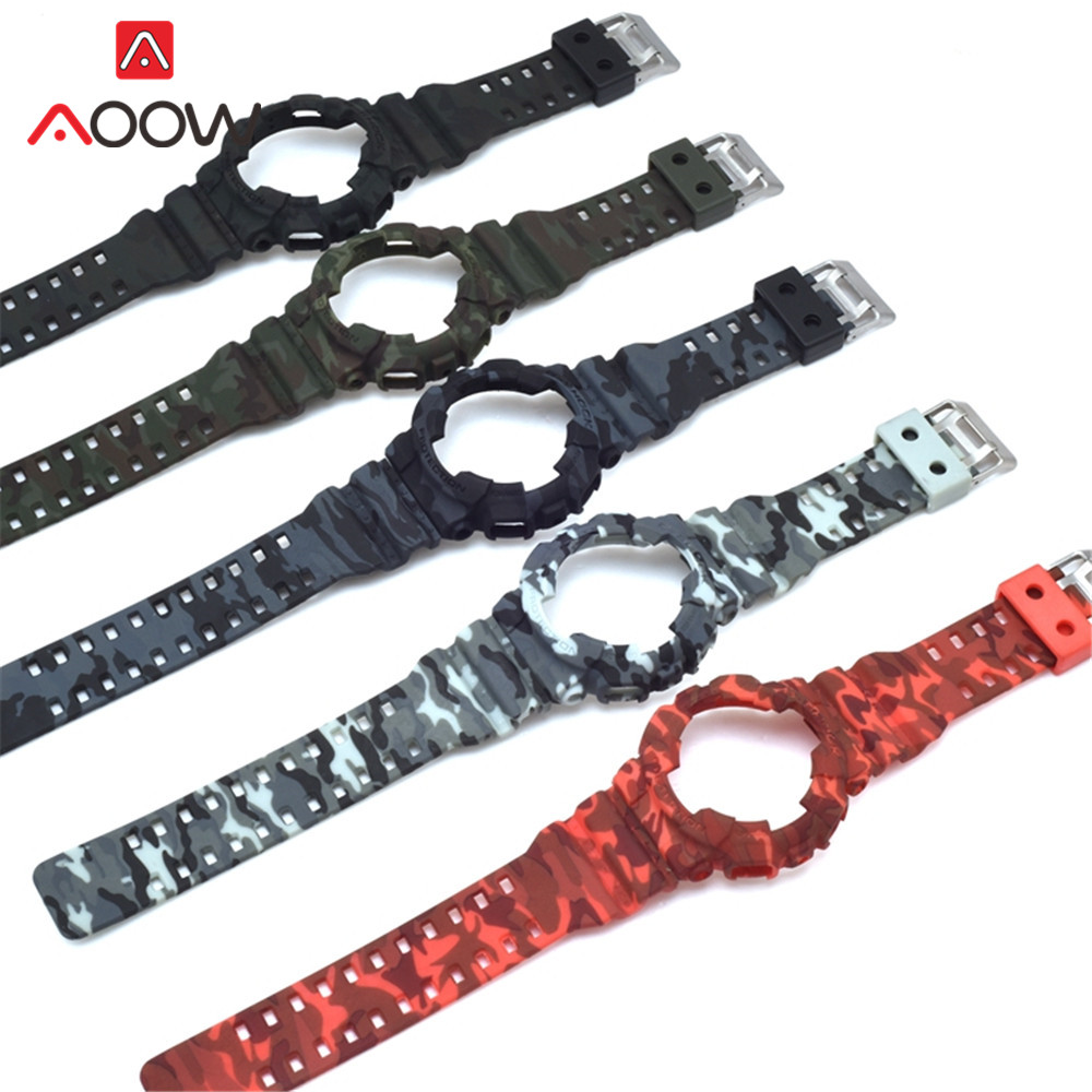 Silicone Rubber Case Watchband For Casio G-SHOCK GA-110 / 100 GA-120 GD-110 Men Sport Waterproof Band Strap Bracelet Accessories