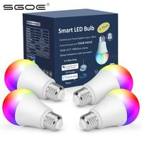 4 pack smart blub wifi light app smart life led dimmable led bulbs e27 e26 rgb tuya bed lamp for home alexa google assistant