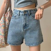 Джинсовые шорты с кружевной панелью простые джинсовые высокой