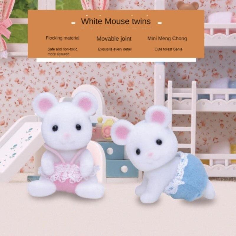 Semipkg Children Sylvanian Families White Mouse Twins GIRL'S Play House Doll Toy Plush 5077