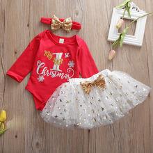 Для маленьких девочек одежда для детей комплект из 3 предметов, на новый год, на каждый день с надписью My 1st Рождество с кружевом для маленьки...