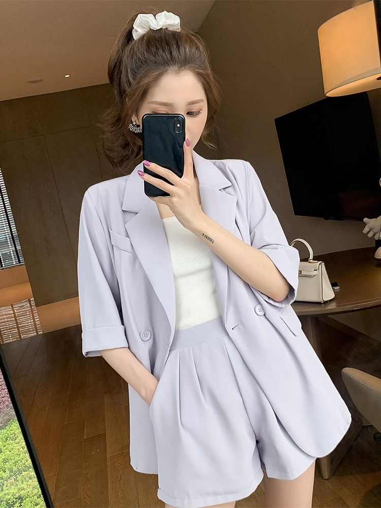 2020 Summer New Korean Version Of The Thin Suit Jacket Shorts Two-piece 2 Piece Set Women