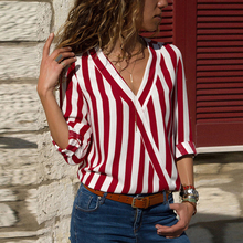 Casual V-neck Autumn Winter Tops for Maternity Shirt and Blouses Striped Chiffon Ladies Top Long Sleeve Wear