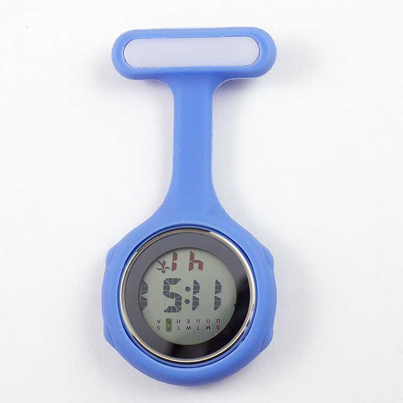 Часы для медсестры карманные часы силиконовые электронные светящиеся календарь желе часы модный тренд - Цвет: Синий