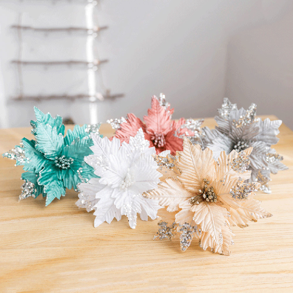 Artificial Christmas Flowers Merry Christmas Tree Ornament Artificial Flowers Xmas Tree Glitter Fake Flower Head DIY-4