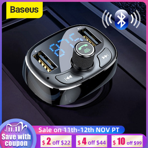 Image 1 - Baseus Car Charger FM Transmitter Aux Modulator Bluetooth Handsfree Car Audio MP3 Player 3.4A Fast Dual USB Mobile Phone Charger