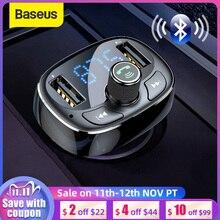 Baseus carregador de carro fm transmissor aux modulador bluetooth handsfree áudio do carro mp3 player 3.4a rápido duplo usb carregador do telefone móvel