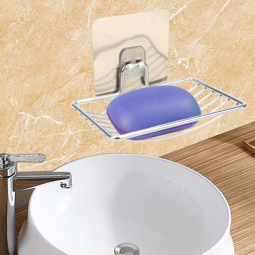 Steel Soap Dish Soap Rack Bathroom Storage Wall Storage Rack Holder Self Adhesive Bathroom Tray Accessories Stainless Steel