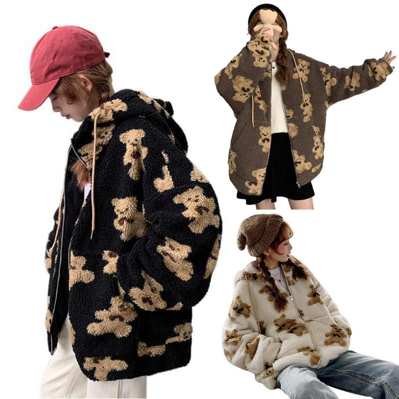 Women Winter Fuzzy Plush Hoodie Jacket Cute Cartoon Bear Print Shaggy Oversized Coat Harajuku Long Sleeve Warm Zip Up Sweatshirt