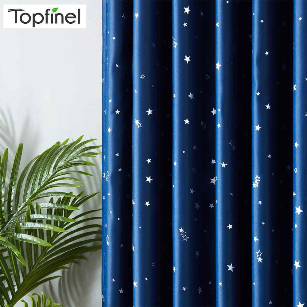 Topfinel Blackout Curtains for Living room Kids Room Bedroom Modern Lucky Star Soft Window Treatment Drapes 100% Polyester