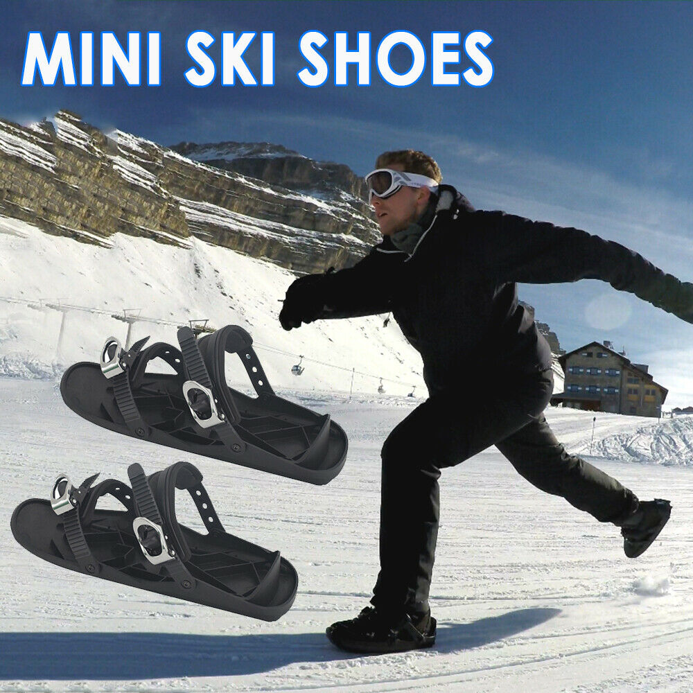 Mini Ski Skates For Snow Short Skiboard Outdoor Travel Snowboarding Shoes Adjustable Skiing Mini Sled Snowboard