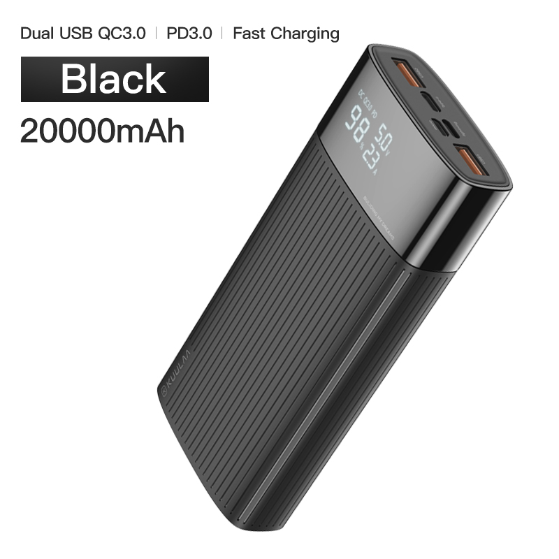 KUULAA power Bank 20000 mAh usb type C PD Быстрая зарядка+ Quick Charge 3,0 power Bank 20000 mAh Внешняя батарея для Xiaomi iPhone - Цвет: Black
