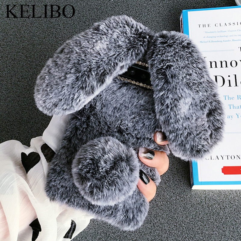 Rabbit Ear Fur Cases For Samsung Galaxy A10 A20 A30 A40 A50 M10 M20 S7 S8 S9 S10 Plus Note 8 9 <font><b>10</b></font> pro A6 A7 A8 A9 <font><b>2018</b></font> Covers image