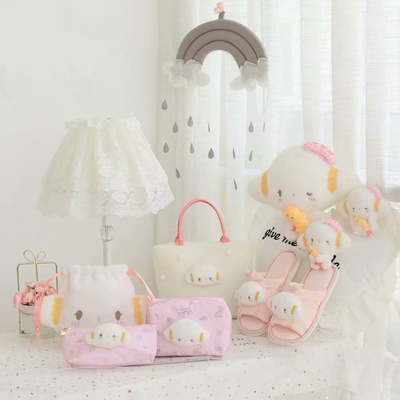 Cute Japan Anime Sheep Portable Small Handbag Storage Cosmetic Bag Pencil Bag Beam Pocket Girls Home Slippers