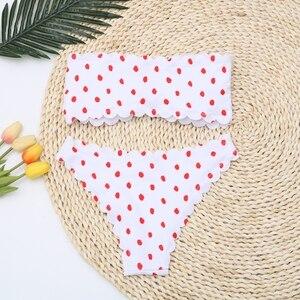 Image 4 - Sexy Polka Dot Bikini Vrouwen 2020 Twee Stuk Badpak Push Up Badmode Bloemen Side Badpak Brazilian Beach Wear Zwemmen pak