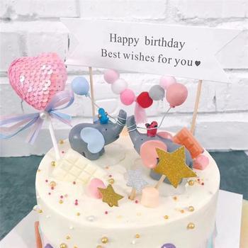 2 色ラブリーバルーン象ケーキトッパー人形樹脂ケーキ装飾品の小型工芸デザートテーブル装飾誕生日パーティー A35