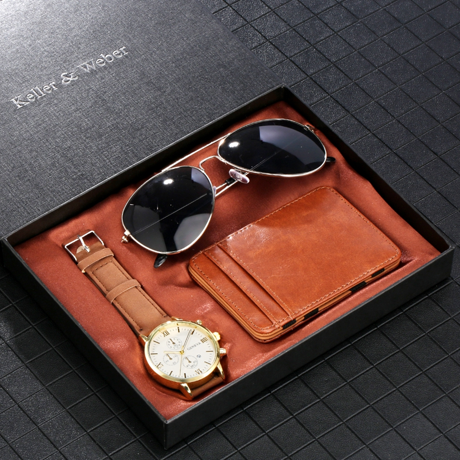 Luxury Rose Gold Men's Watch Business Leather Wallet Fashion Sunglasses Sets for Men Unique Souvenir Gifts for Boyfriend Husband 2020 2021 SKMEI WATCHES (1)