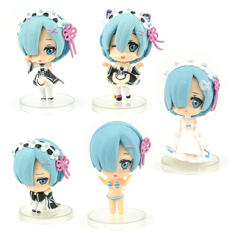 Japan Capsule Toys Anime 5 Cute Kawaii Maid Wear Bikini Princess Dress Rem Blind Box Gashapon Figures Desktop Kids Toy