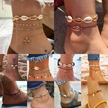 Colorful Stone Beaded Anklet Fashion Shell Conch Starfish Design Bracelet chain on The Leg Golden Silver  Foot Jewelry