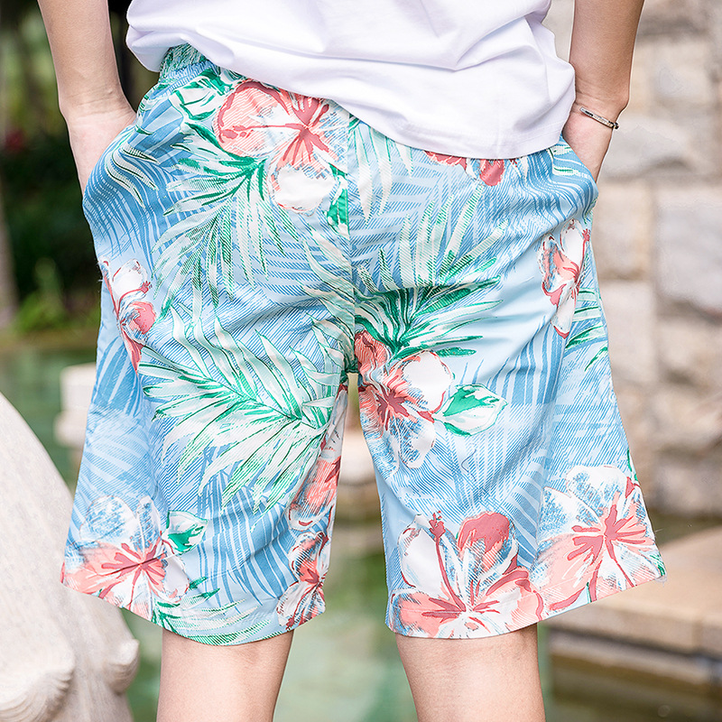2018 New Couples Beach Shorts Short Large Size Loose-Fit Hot Springs WOMEN'S Shorts Men's Quick-Dry Couples Beach Shorts