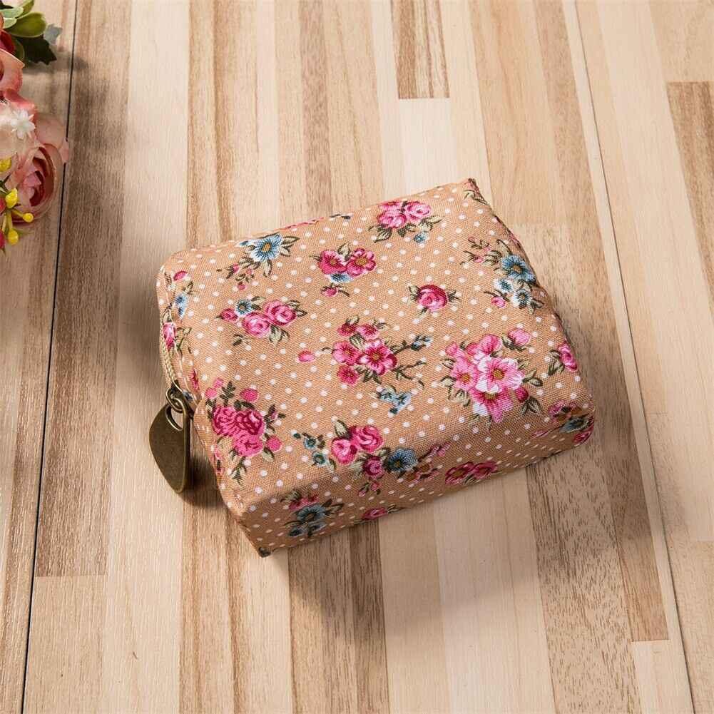 Mulheres Meninas do vintage Bonito Da Lona Floral Mini Mudança Coin Purse Zipper Carteira Pequena Chave Bolsa Caso Titular Saco