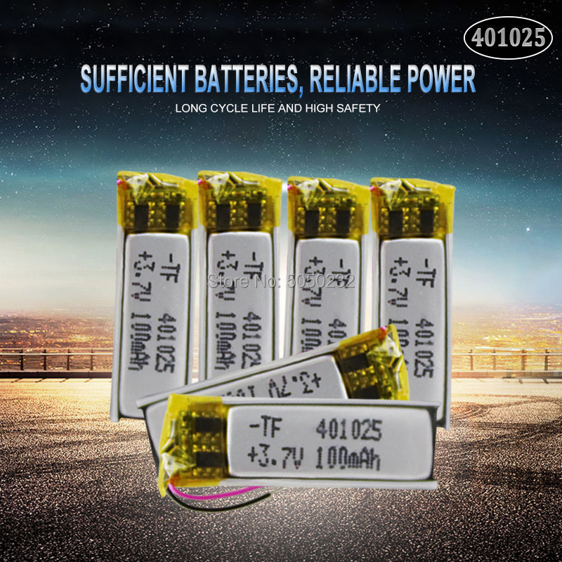 10pc 70mAh 3.7V <font><b>401025</b></font> PLIB Polymer Lithium ion / Li-ion Battery for GPS MP3 MP4 MP5 DVD Bluetooth Model Toy Mobile Bluetooth image
