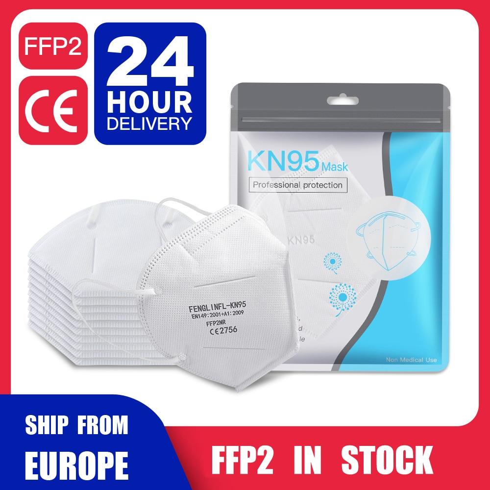 100 pces kn95 ffp2 máscara respiratória protetor protetor de proteção facial saudável filtro contra poeira névoa embaçamento líquidos anti-odor