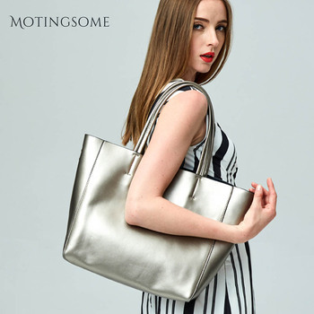 Luxury Pearly Lustre Genuine Leather Tote Bag Quality Women Natural Leather Soft Handbag Cowhide Leather Large Shopper Bags 2020