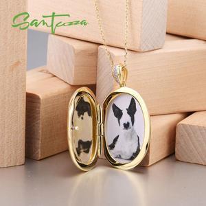 Image 5 - SANTUZZA Silver Pendant for Women Pure 925 Sterling Silver Colorful Enamel Parrot Bird Photo locket Trendy Fine Jewelry HANDMADE