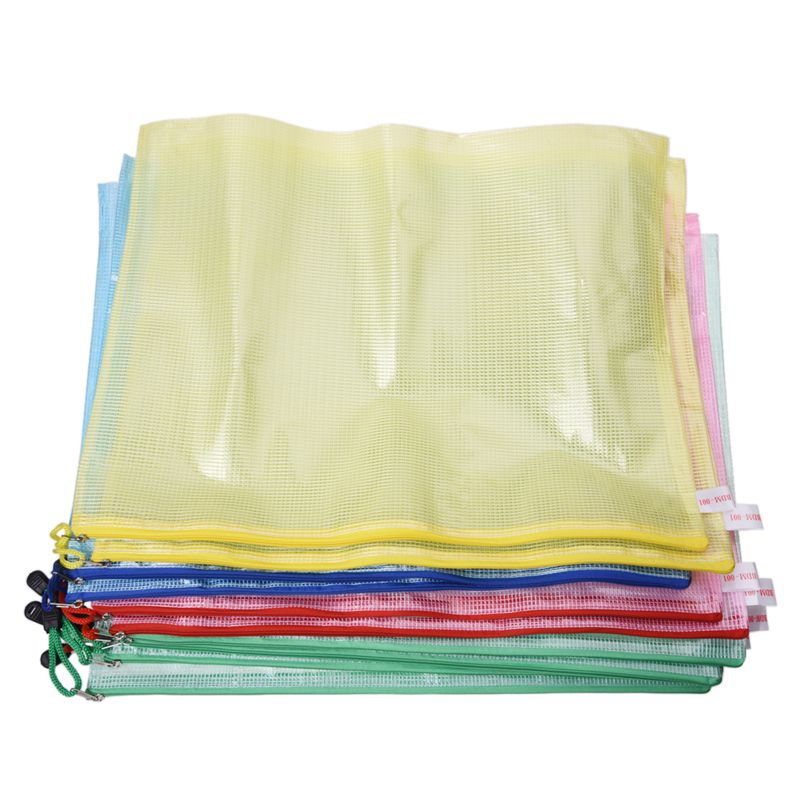 10 Pcs Netting Surface A3 Document File Holder Zipper Bag Multicolor