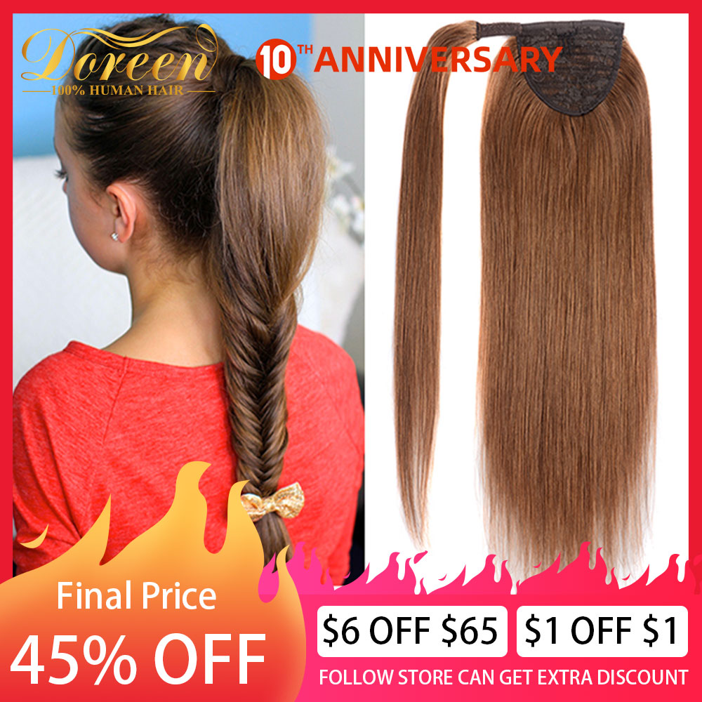 Dorren Clip In Human Hair Extensions Machine Made Remy Brazilian Human Hair Ponytail Hairpieces Light Brown 14