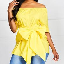 Women Casual Elegant Yellow Office Lady Blouse Female Bow Lace Plus Size Loose Short Sleeve One Word Collar Top Ladies clothes(China)