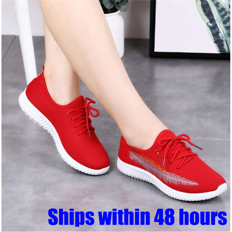 Women Running Shoes 2019 Sneakers Solid Black Red Shoes Gym Fitness Trainers Walking Sport Shoes Female Zapatos Mujer Size 35-41