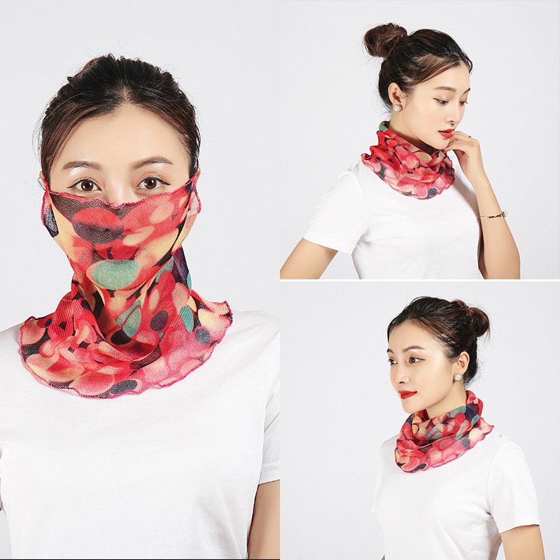 Spring And Summer Sun-resistant Silk Scarves Scarf Large Face Mask Women's Neck Guard Breathable Full Face Covering Sun-resistan