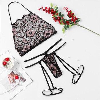 Women Sexy Lingerie Lace Babydoll Open Bra Set 1