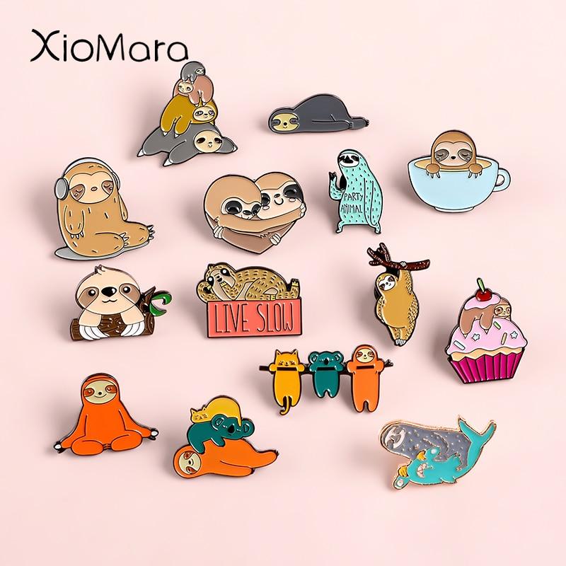 15 estilos bonito sloth coala esmalte pinos adorável preguiçoso flash emblema denim saco jóias animais crianças presentes broches lapela pinos