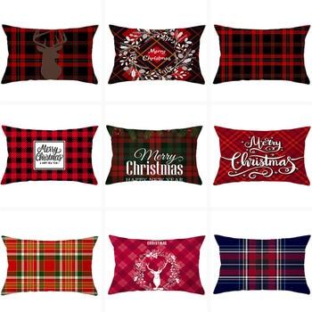 Red Plaid Cushion Cover 30X50 Pillowcase Polyester Elk Merry Christmas Printed Decorative Pillows Sofa Cushions Pillowcover new cartoon dinosaur decorative pillow cushion covers pillowcase cushions for sofa polyester pillowcover cuscini decorativi